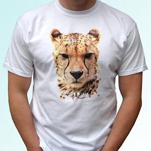 Cheetah head white t shirt animal tee wild cat top - mens womens kids baby sizes