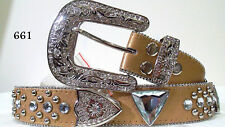 ON SALE!!! Women's / Misses Western Leather Crystal Bling Belt Size XL Gold