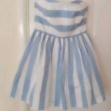 LOVE LABEL BLUE & WHITE STRIPE COTTON STRAPLESS  SUMMER DRESS SIZE SIZE 8 10