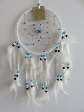 Dream Catcher - White Leather 16.5cm Circle - Tan String Web & Aqua Stone Chips
