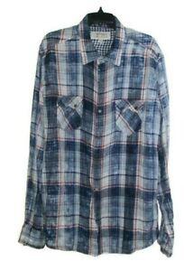 Ryan Michael Indigo Plaid Long Sleeve Metal Thunderbird Snap Button Shirt XXL