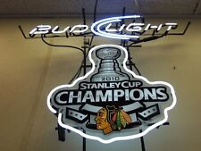 "New Bud Light Chicago Blackhawks Stanley Cup Champions Neon Sign 24""x20"""