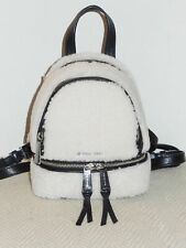 Michael Kors Natural Black Fur Rhea Zip XSmall Messenger Backpack Handbag