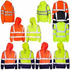 HI VIZ VIS VISIBILITY HOODED REFLECTIVE WORK ZIP FLEECE SWEATSHIRT JACKET SIZE