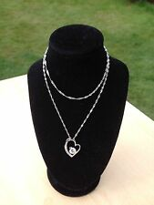 """Stunning 925 Sterling Silver,Sparkly CZ Heart Pendant Necklace jewellery 18"""""""