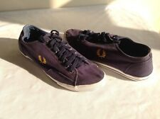 FRED PERRY CANVAS SHOES/TRAINERS  NAVY BLUE SIZE 45 EUR - UK 10 - USED CONDITION