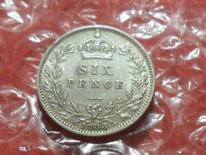 1888 Victoria Jubilee Head sixpence.