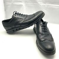 Cole Haan ZeroGrand Black Perforated Leather Wingtip Dress Casual Shoe Men 10.5M