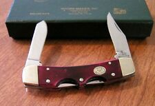 MOORE MAKER New Red Smooth Bone Handle 2 Blade Double Lockback Knife/Knives
