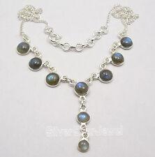 "925 Pure Silver BLUE FIRE LABRADORITE Curb Chain Necklace 17.9"" 9 Grams"