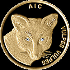 Belarus 2003, FOX (VULPES VULPES), 50 rubles, 1/4 oz Gold, Diamonds