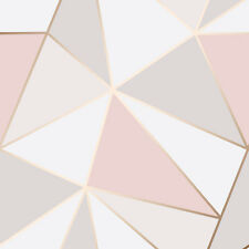 Rose Gold Geometric Triangle Wallpaper by Fine Decor -  Apex Geo Pink FD41993