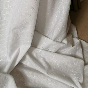 """1.5 METER WHITE BRODERIE ANGLAISE  POLY COTTON  FABRIC.45"""" WIDE"""
