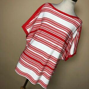 New Ralph Lauren 1X Sweater White Red Stripe Lightweight Oversized Boat Neck R1