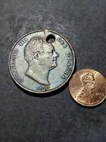 1831 HUGE GREAT BRITAIN 1 Penny Coin (HOLED)