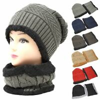 be498e1f1d20e4 Women Men Winter Beanie Hat w/ Neck Warmer Gift Set Cold Weather Fur Lined