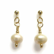 Handmade Drop/Dangle Yellow Gold Fine Pearl Earrings