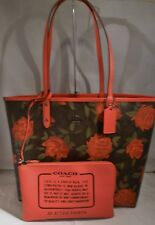 NWT COACH RED MULTI ROSE FLORAL PRINT REVERSIBLE CITY TOTE HANDBAG 25874