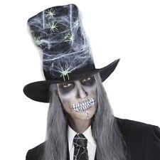 SCHWARZER ZYLINDER mit Spinnenweben Gothik Mütze Halloween Karneval Deko 2894