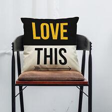 Vintage Letter Cotton Linen Pillow Case Zip Sofa Waist Cushion Home Decor Throw