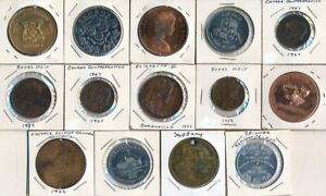 14 OLD CANADA MEDALS & TOKENS (ROYAL VISIT & MUCH MORE)! SEE IMAGES > NO RESERVE