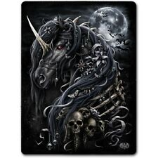 Spiral Direct DARK UNICORN Fleece Blanket Bedding/Gift/Tattoo/Skull/Rock/Metal