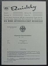 saubere abe NSU Quickly  Betriebserlaubnis Blanco 50/60 er Jahre grau papier TOP