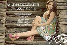 Graduation Swirl Full Photo Invitation Announcement 10 Invitations Any Color