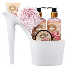 5 Piece Pretty Stylish British Rose Body & Bath White High Heel Shoe Gift Set