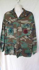 Military Hot Weather Combat Shirt Coat Woodland Camo, Medium X- Long
