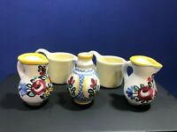 Vintage Hand Painted Miniatures 3 Hand Painted Vases & 2 White Creamers