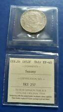 1852-F German States SAXONY-ALBERTINE Thaler Silver Coin ICCS EF-40