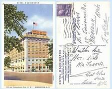Hotel Washington 1937 Washington DC Building Postcard Architecture Teich Scarce