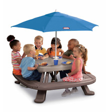 Little Tikes Fold 'n Store Picnic Table with Market Umbrella Outdoor Kids NEW