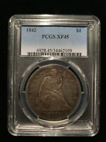 1842 P Seated One Dollar PCGS XF45 Choice Extremely Fine Silver Liberty S$1