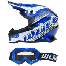 Kinder Cross Brille + Helm Off Road L 51-52 blau Motorrad Quad Bike MX BMX