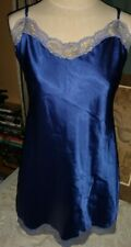 Victoria's Secret vintage Women Chemise Nightie Slip Peacock Blue Satin S M