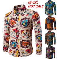 Fashion Mens Floral Printed Casual Shirts Dress T-shirt Long Sleeve Slim Tops