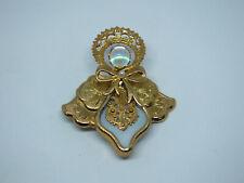 "Beautiful Brooch Pin Angel Gold Tone Iridescent White Cabochon 2 1/4 x 2"" Nice"