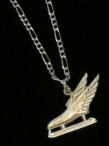 """Speed Skate Necklace Sterling Silver Plate 18"""" Figaro Chain Skates Winged Skate"""