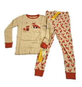 Leveret Kids' Fox Pajama Set 100% Cotton Embroidered 2pc PJs Set Size 8 Years