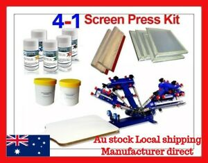 Micro Adjustable 4 Color 1 Station Silk Screen Printing T-shirt Press Kit E