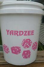 Yardzee Large 6 Cedar Wooden Lawn Dice Yard Game Deluxe Set w/ Farkle Card PINK