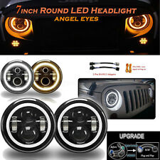 "7"" Inch Round LED Headlight Hi/Low Beam Halo Angle Eye For Jeep Patriot Liberty"