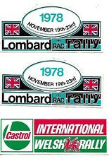Welsh Rally advertising sticker and a pair of 1978 Lombard RAC stickers