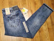 Silver Kenni Girlfriend Skinny Leg Jeans Size 33 L 27 Mid Rise Distressed NWT