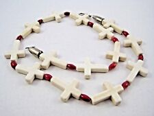 White Cross & Red Bead Necklace Bead Hook Clasp Strand 23""