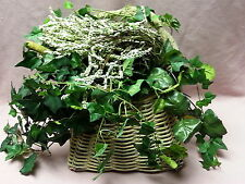 Primitive Rustic Woven Basket Twisted Twig Handle Ivy Vines White Sweetspire