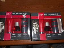 LOT OF 2 SPIRIT FOR MEN ANTONIO BANDERS 3pc FRAGRANCE SET *IMPERFECT BOX*