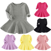 Toddler Kids Babys Girls Long Sleeve Dress Princess A-Line Short Winter Dress AB